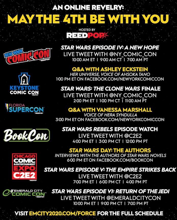 L'elenco dei live tweet e degli ospiti del 4 maggio 2020 per lo Star Wars Day