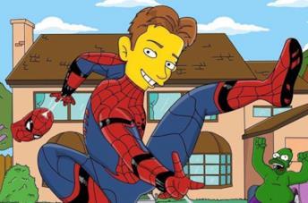 Tom Holland condivide una immagine del suo Spider-Man versione Simpson