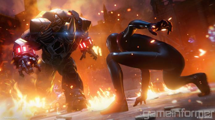 Miles Morales affronta Rhino in una immagine promozionale di Marvel's Spider-Man: Miles Morales