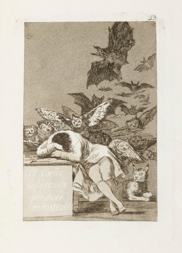 L'opera Il sonno della ragione genera mostri di Francisco Goya
