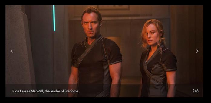 Jude Law e Brie Larson in una scena del film Captain Marvel