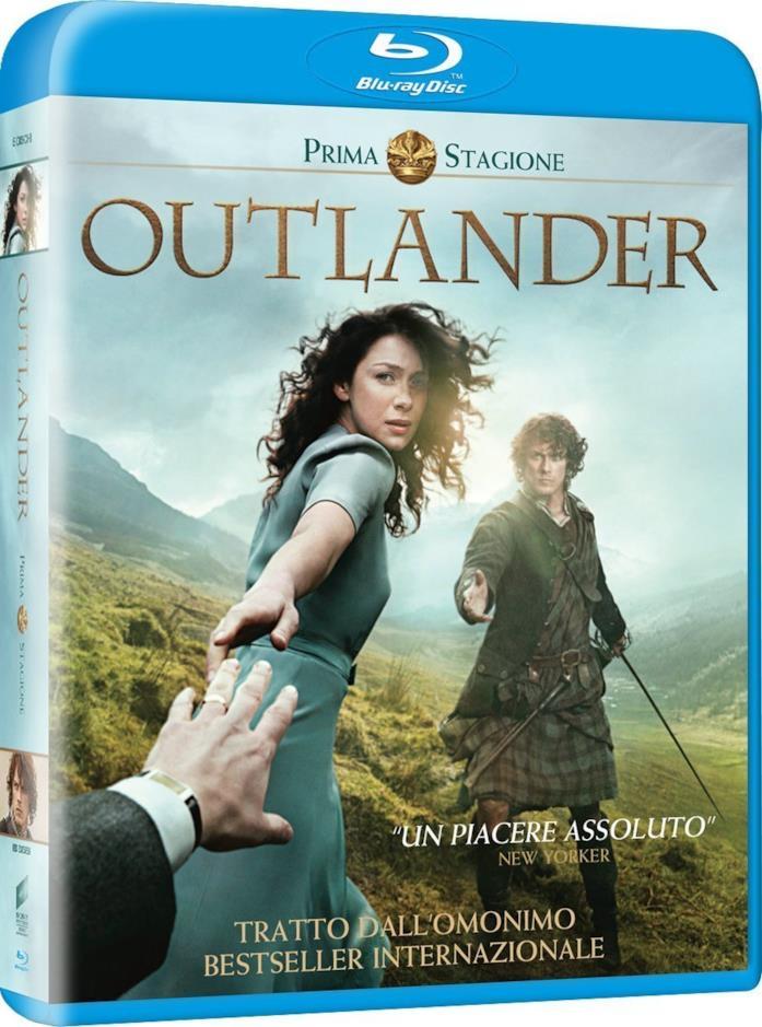 Caitriona Balfe e Sam Heughan nella opertina del cofanetto Blu-ray di Outlander