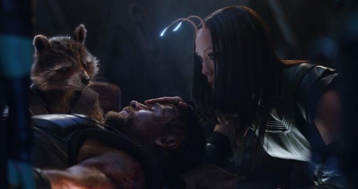 Thor in compagnia di Rocket e Mantis in una nave spaziale