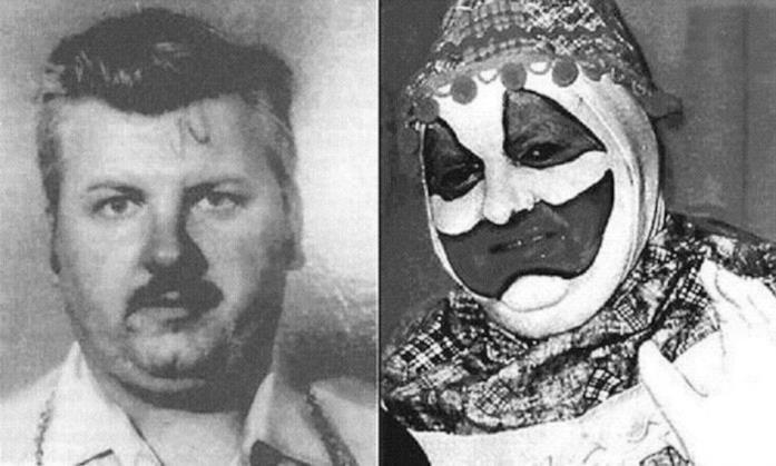 John Wayne Gacy senza e con il costume del Serial Killer Clown