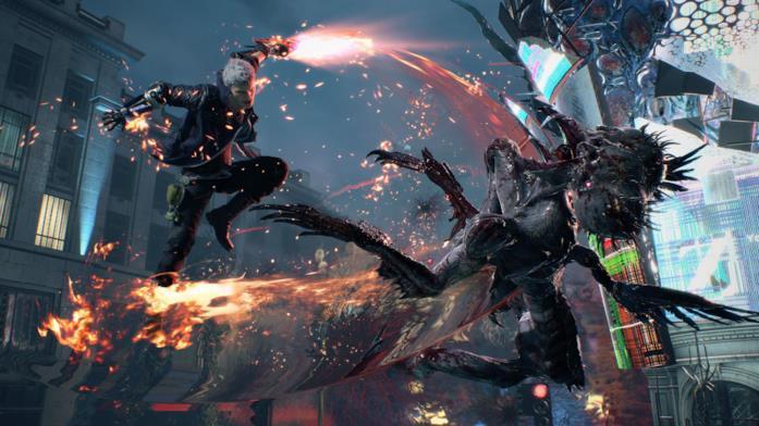 Nero in azione in Devil May Cry 5