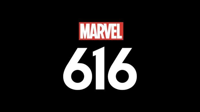 Il logo di Marvel 616 sopra uno sfondo nero
