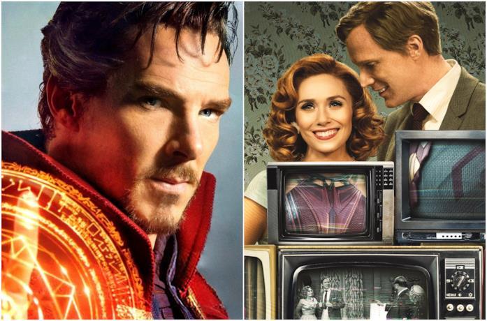 Primi piani di Benedict Cumberbatch, Elizabeth Olsen e Paul Bettany
