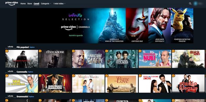Il canale Infinity Selection su Amazon Prime Video