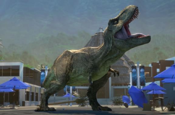 Il Tirannosauro Rex in una scena della seconda stagione di Jurassic World Nuove Avventure 2