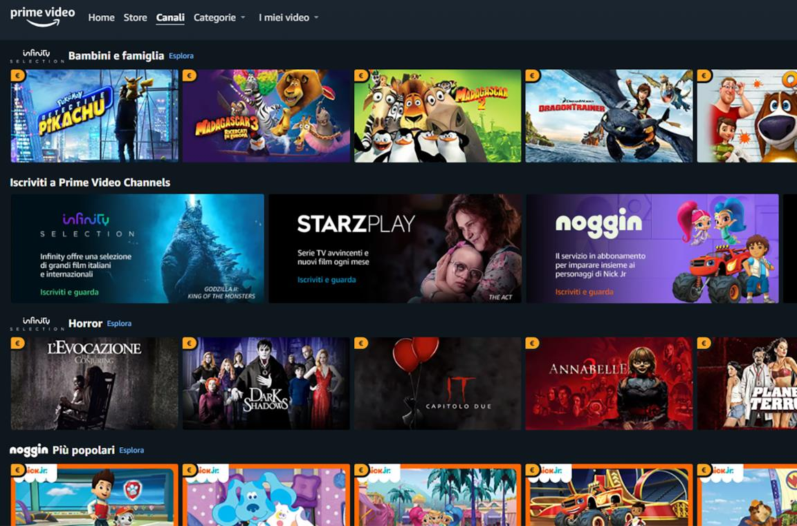 La Home della sezione Canali di Amazon Prime Video