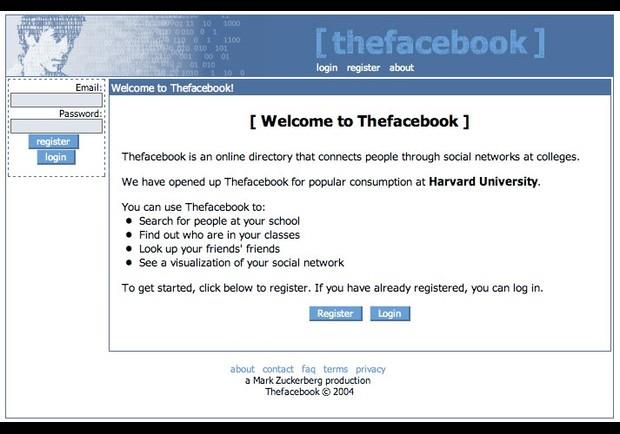 Screen della schermata di log-in di TheFacebook