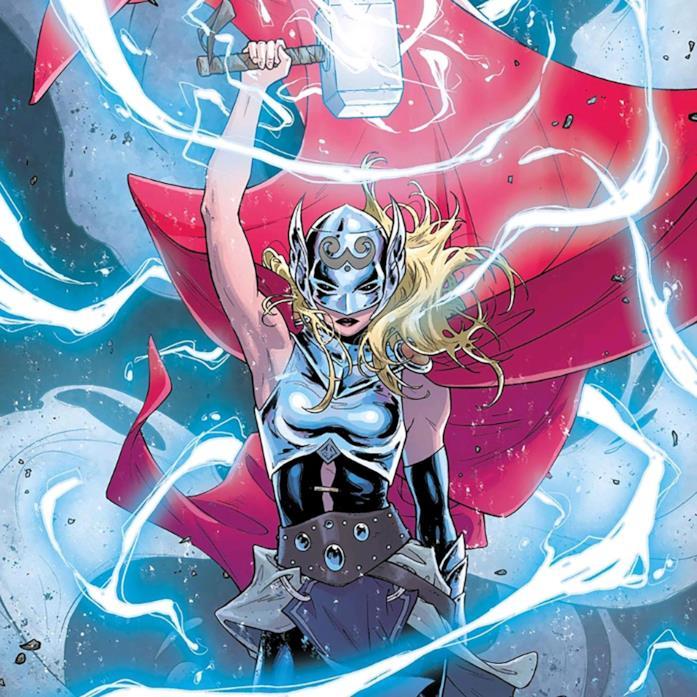 Lady Thor in una illustrazione per un albo Marvel Comics