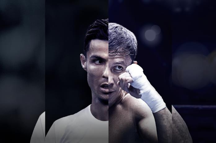 Un primo piano di Cristiano Ronaldo e Anthony Joshua