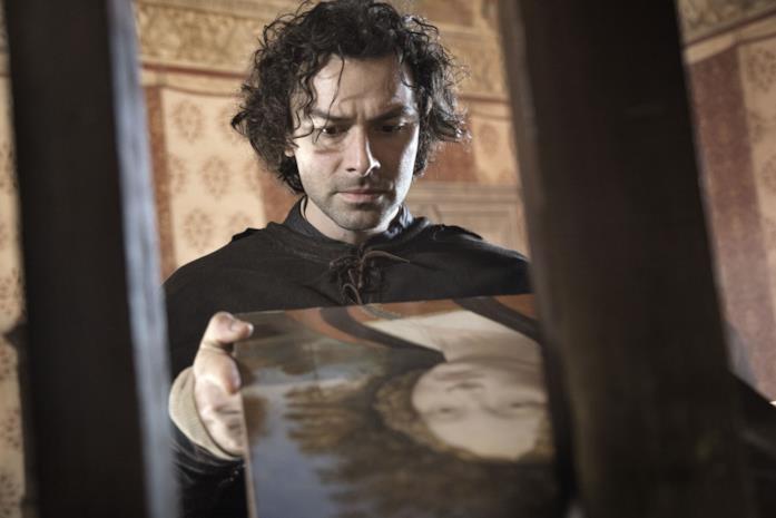 Aidan Turner nei panni di Leonardo da Vinci nella serie RAI