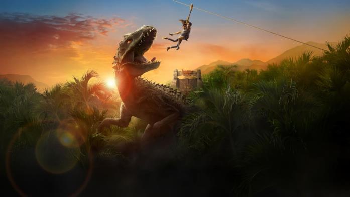 Due dei ragazzi protagonisti sfuggono da un minaccioso carnivoro