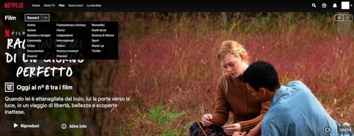 I film di Netflix possono essere filtrati per i generi più popolari