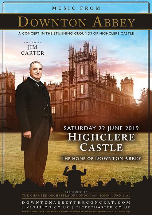 Jim Carter nel manifesto di presentazione del concerto con le musiche della serie TV Downton Abbey