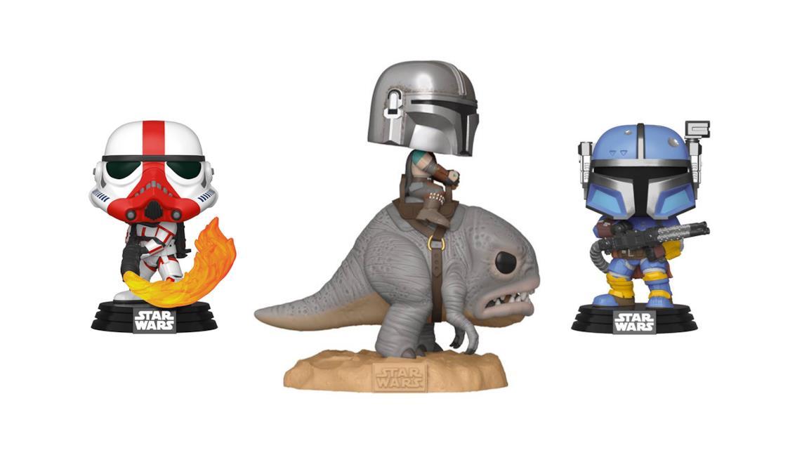 I Funko Pop The Mandalorian Stormtrooper, Mandaloriano su Burr e Soldato di fanteria pesante