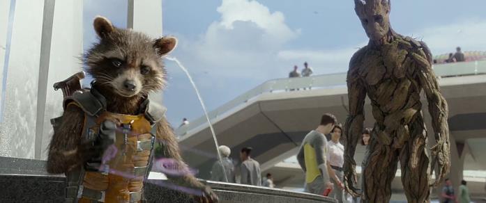 Rocket e Groot su Xandar in Guardiani della Galassia