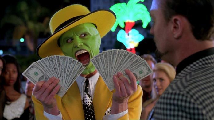 Mask interpretato da Jim Carrey in una scena del film The Mask - Da zero a mito