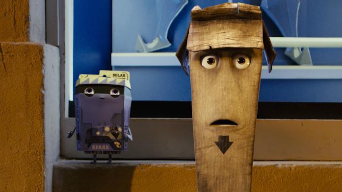 Spark e Slim in una scena del film d'animazione Trash
