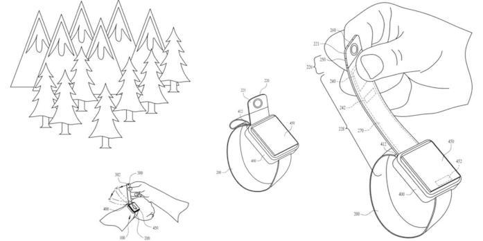 Illustrazioni integrate nel brevetto di Apple sulla fotocamera per Apple Watch integrata nel cinturino