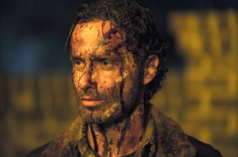 Rick Grimes in una sena di The Walking Dead