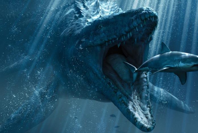 Il Mososauro di Jurassic World visto sott'acqua