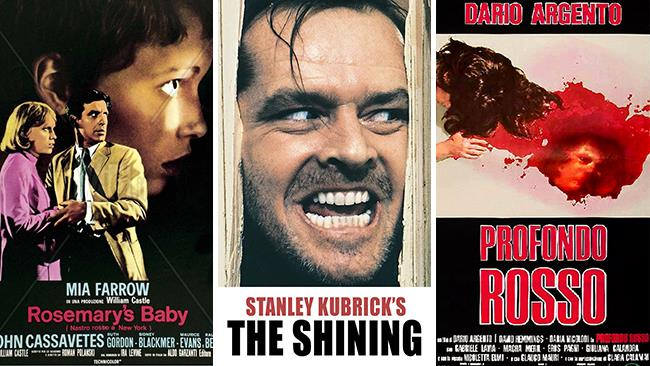Le locandine dei film Rosemary's Baby, Shining e Profondo Rosso