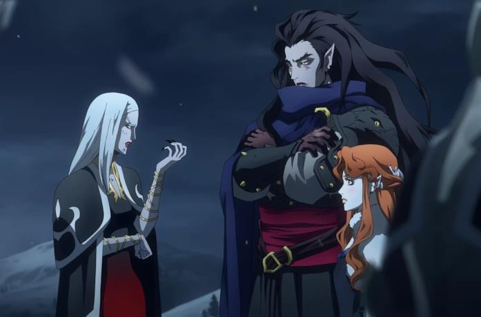 Un'immagine di Carmilla e le sue sorelle nella serie Castlevania