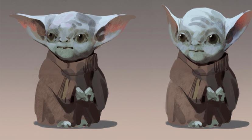 Due bozzetti successivi di Baby Yoda in cui il personaggio sembra l'elfo di una saga fantasy