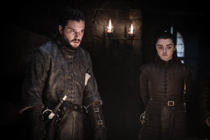 Jon Snow/Aegon Targaryen e Arya Stark in GoT 8x02