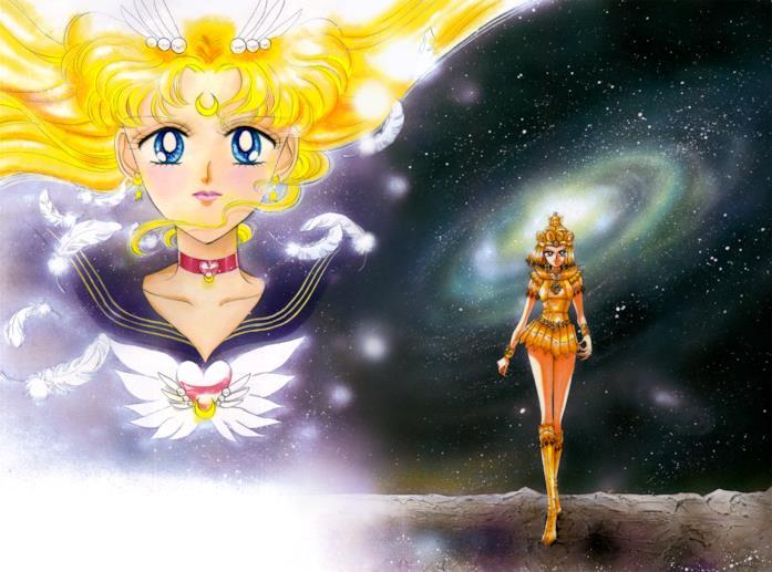 Sailor Moon e Sailor Galaxia disegnate da Naoko Takeuchi