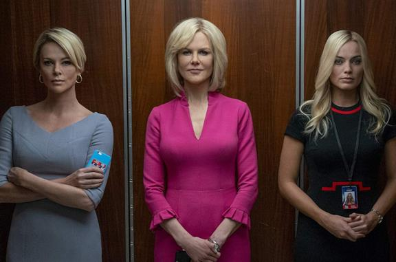 Charlize Theron, Nicole Kidman e Margot Robbie in una scena di Bombshell