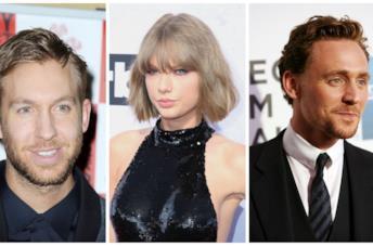 Primo piano di Calvin Harris, Taylor Swift e Tom Hiddleston