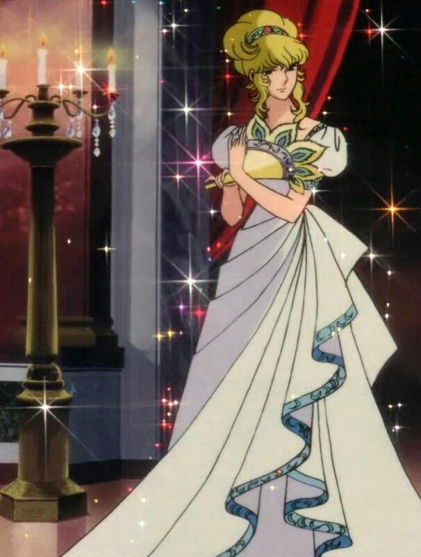 Lady Oscar vestita da damigella per un ballo