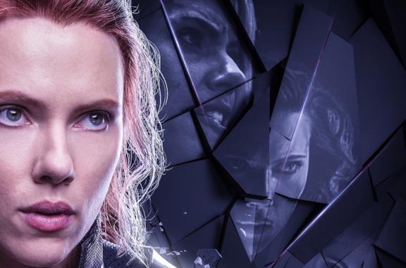 Il volto di Vedova nera in un poster promozionale di Avengers: Endgame