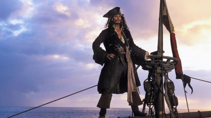 Una scena con Johnny Depp tratta da Pirati dei Caraibi: La maledizione della prima luna