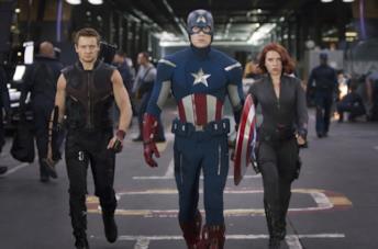 Capitan America, Vedova Nera e Occhio di Falco in The Avengers