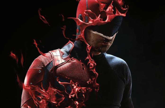 Primo piano di Charlie Cox nei panni di Daredevil