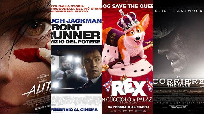 I poster di Alita - Angelo della Battaglia, The Front Runner, Rex - Un cucciolo a palazzo, The Mule