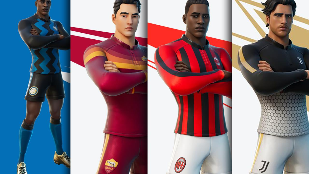 Fortnite incontra la Serie A: le divise di Inter, Roma, Milan e Juve diventano skin