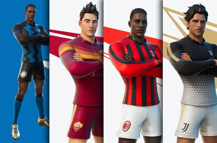 Le skin di Inter, Roma, Milan e Juventus di Fortnite