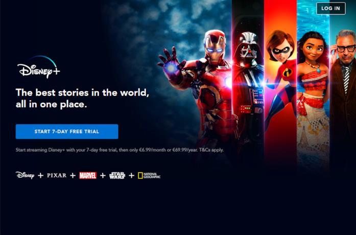 La home page di Disney+