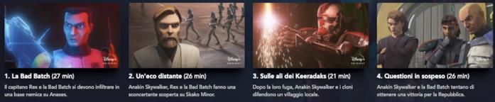 Il menù di Disney+ della stagione 7 di The Clone Wars