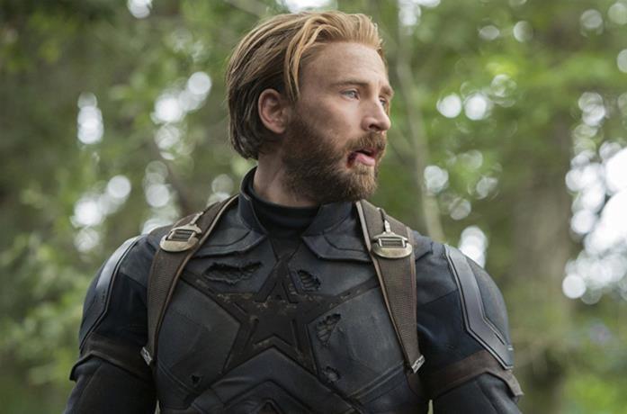 Chris Evans come Capitan America in Avengers: Infinity War