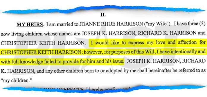 Uno stralcio del testamento di Richard Harrison