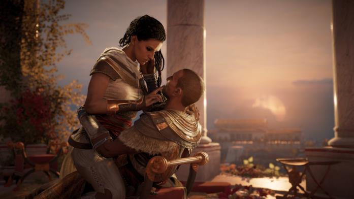 Bayek bacia sua moglie Anya