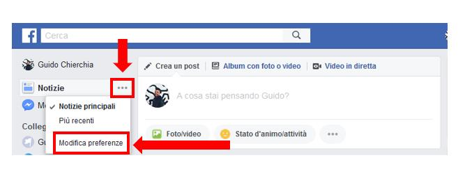 Primo passaggio del secondo modo per attivare Pagine Preferite su Facebook: cliccare 'Modifica preferenze' da 'Notizie'
