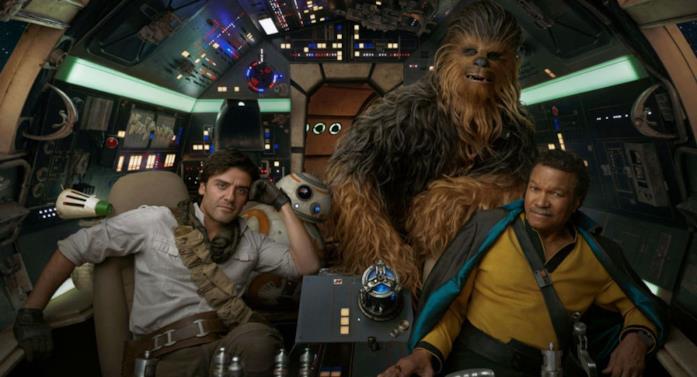 Un'immagine di D-O, Poe Dameron, Lando Calrissian, Chewbacca e BB-8